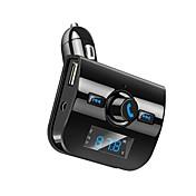 블루투스 차량용 키트 핸즈프리 통화 FM 송신기 라디오 어댑터 스테레오 MP3 음악 플레이어 듀얼 USB 충전기 보조 TF 카드 포트
