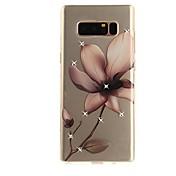 Etui Til Samsung Galaxy Note 8 Rhinstein Ultratynn Gjennomsiktig Mønster Bakdeksel Blomsternål i krystall Myk TPU til Note 8 Note 5 Edge