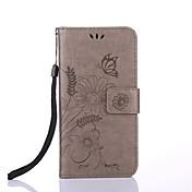 Funda Para Apple iPhone X iPhone 8 Soporte de Coche Cartera con Soporte Flip Magnética Diseños En Relieve Funda de Cuerpo Entero Flor Dura