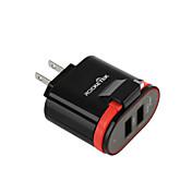 Cargador Portátil Cargador USB del teléfono Enchufe USA Enchufe UE Puertos Múltiples 2 Puertos USB 3.1A AC 100V-240V Para Teléfono Móvil