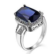 Mujer Zirconia Cúbica Zirconio Anillo de compromiso / Anillo para los Nudillos - Cuadrado Azul marinero / Azul Real / Champaña anillo Para