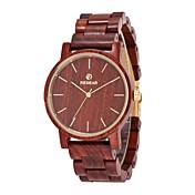 Hombre Reloj Madera Reloj de Vestir Japonés Cuarzo de madera Madera Banda Minimalista Elegant Rojo