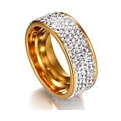 Mujer Zirconia Cúbica Acero inoxidable Anillo de banda - 1 Forma Geométrica Clásico / Básico Plata / Dorado anillo Para Boda / Graduación