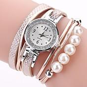 Dame Simulert Diamant Klokke Armbåndsur Moteklokke Hverdagsklokke Kinesisk Quartz Imitasjon Diamant PU Band Fritid Bohemsk Svart Hvit Blå