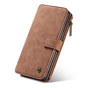 Etui Til Samsung Galaxy A5(2017) A3(2017) Kortholder Lommebok med stativ Flipp Magnetisk Heldekkende etui Helfarge Hard ekte lær til A3