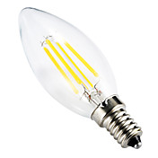 BRELONG® 1pc 4W 300-350 lm E14 Bombillas de Filamento LED C35 leds COB Regulable Decorativa Blanco Cálido AC 220-240V