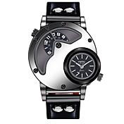 YNFRU Hombre Cuarzo Reloj de Pulsera Chino Esfera Grande Reloj Casual Piel Banda Casual Reloj creativo único Moda Cool Negro Marrón