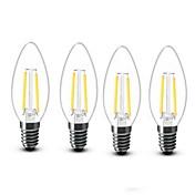 4stk 2W 200 lm E14 LED-lysestakepærer C35 2 leds COB Dekorativ Varm hvit AC 220-240V