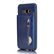Funda Para Samsung S8 S7 Soporte de Coche Cartera Funda Trasera Color sólido Suave Cuero de PU para S8 Plus S8 S7 edge S7