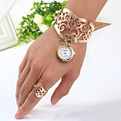 Mujer Cuarzo Reloj Pulsera Chino Reloj Casual Acero Inoxidable Banda Brazalete Dorado