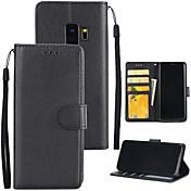 Etui Til Samsung Galaxy S9 S9 Plus Kortholder Lommebok med stativ Heldekkende etui Helfarge Hard PU Leather til S9 Plus S9 S8 Plus S8 S7