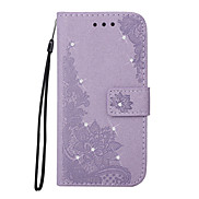 For Case Cover Card Holder Wallet Rhinestone with Stand Flip Embossed Pattern Full Body Case Flower Hard PU Leather for Samsung Galaxy