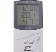 Digital LCD Outdoor/Indoor Temperature Hygrometer Thermometer With Clock TA368