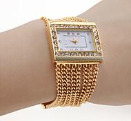 Недорогие -Женские Модные часы Часы-браслет Японский кварц Кварцевый сплав Группа Блестящие Элегантные часы Золотистый