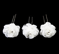 Недорогие -симпатичный сатинированный цветок девушки шпильки / головной убор (набор из 3) элегантный стиль