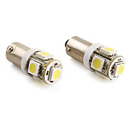 BA9S 1.5W 5x5050 SMD 100LM White Light LED Bulb for Car  Lamp (2-Pack, DC 12V)