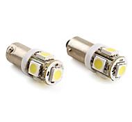 BA9s 1.5W 5x5050 SMD 100lm lâmpada LED branco para lâmpada do carro (2-pack, 12V DC)