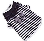Cane T-shirt Abbigliamento per cani Fiocco Nero/Bianco Costume Per animali domestici