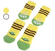 Dog Socks Casual/Daily Keep Warm Winter Spring/Fall Cartoon Yellow White Cotton