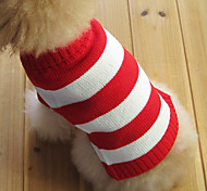 cheap -Cat Dog Sweater Dog Clothes Stripe Red Cotton Costume For Pets Men's Women's Fashion Christmas