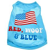 Недорогие -Собака Футболка Одежда для собак Флаги Американский / США Хлопок Костюм Для домашних животных Муж. Жен.
