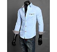 Недорогие -Мужской Однотонный Рубашка Для офисаДлинный рукав,Черный / Синий / Белый