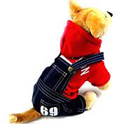 Cane Felpe con cappuccio Tuta Abbigliamento per cani Cotone Primavera/Autunno Inverno Cowboy Di tendenza Jeans Grigio Rosso Per animali