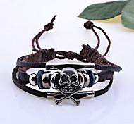 Недорогие -Браслеты Браслеты с подвесками / Кожаные браслеты Кожа В форме черепа Свадьба Бижутерия Подарок Коричневый