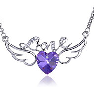 Angel Wings Love Heart Crystal Pendant Necklace