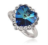 Maxi anel Coração Prata Chapeada Liga Coração Jóias Para Casamento Festa