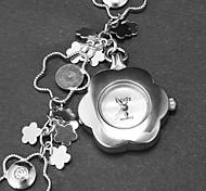 Feminino Flor Forma Dial Flor Bracelet Watch Padrão