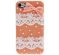 Sweet Style Bowknot and Lace Covered Hard Case with Nail Adhesive for iPhone 4/4S (Assorted Colors)