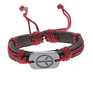 Men/Women's Brown Peace Sign Leather Bracelet(Random Color)  Christmas Gifts