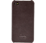 cheap -DEVIA Solid Color Litchi Pattern Genuine Leather Hard Case for iPhone 4/4S (Optional Colors)