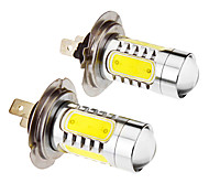 H7 7.5W 5-LED 6000K Cool White Light LED Bulb for Car (12-24V,2pcs)