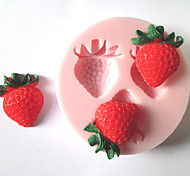 Three Holes Strawberry Fruit Silicone Mold Fondant Molds Sugar Craft Tools Chocolate Mould  For Cakes