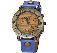 Women's Vintage Music Pattern Round Dial PU Band Quartz Analog Wrist Watch (Assorted Colors) Cool Watches Unique Watches Strap Watch