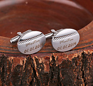 Personalized Gift Oval Silver Metal Engraved Cufflink