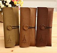 cheap -Eiffel Tower Pattern Cashmere Leather Card Holder Case(Random Color)