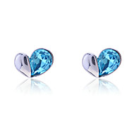 cheap -Women's Heart Crystal Imitation Diamond Stud Earrings - Luxury Love Heart Blue Earrings For Party Daily Casual