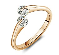 18K Rose Gold Plated Fashion Design Twins Zircon CZ Engagement Ring