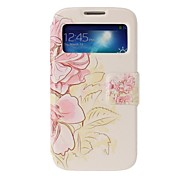 Pink Flowers Full Body Leather Case with Stand for Samsung Galaxy S4 i9500