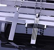 Недорогие -Персональный подарок Мужская ювелирные изделия нержавеющей стали крестообразный гравировкой ожерелье с 60см цепи