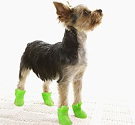 Cat / Dog Shoes & Boots Waterproof Winter / Spring/Fall Solid Yellow / Blue / Purple / Black / Pink Silicone