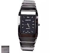 Персональный подарок Мужская площадь черный циферблат стали вольфрама ремень аналоговый гравированные Часы