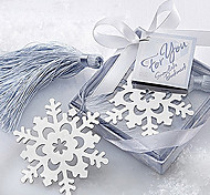 Cute Hollow Snowflake With Tassels 6.5*6.5*1 Metal Bookmarks & Clips(Silver,1pc)