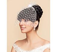 Недорогие -Свадебные вуали Один слой Короткая фата Фата клетки птицы 11,81 В (30 см) Тюль Белый ЧерныйПлатье-трапеция, бальное платье,