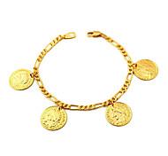 u7® Figaro цепи золота заполнены монет прелести браслеты браслеты 18k реальное золото с гальваническим покрытием из 18-каратного марки 2мм 21см