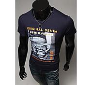Hombres Carta Patrón cuello redondo delgado de la manera impresión de manga corta camiseta