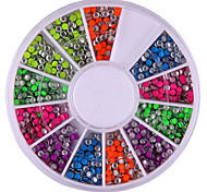 2mm Mixed Color Rundheit Rivet Nail Art-Dekorationen